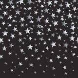 Серебряные звезды с градиентом на черной безшовной предпосылке также вектор иллюстрации притяжки corel Стоковая Фотография RF