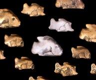 Серебряные и бронзовые рыбы металла Стоковая Фотография