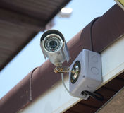 Серебряные камера слежения или CCTV Стоковые Изображения RF