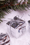 Серебряные коробки подарка рождества Стоковые Фотографии RF