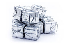 Серебряные коробки подарка рождества Стоковые Изображения