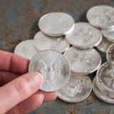 Серебряные монеты Стоковое Изображение