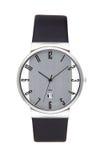 Серебряные наручные часы изолированные на белой предпосылке Стоковое Фото
