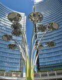 Серебряные небоскребы в Милане стоковое фото rf