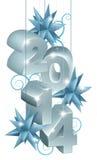 Серебряные Новый Год или рождество 2014 украшения Стоковые Фото