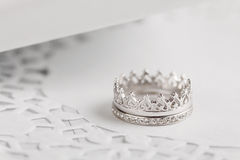 Серебряные обручальные кольца Стоковое Изображение