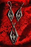 Серебряные серьги и pendent с драконом стоковые изображения rf