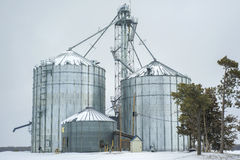 Серебряные силосохранилища, зима стоковые изображения