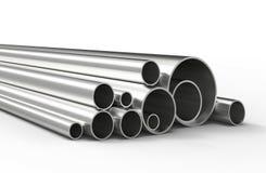 Серебряные трубы изолированные на белой предпосылке Стоковые Фото