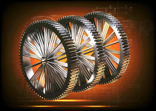 Серебряные cogwheels на апельсине стоковое изображение rf