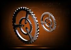 Серебряные cogwheels на желтом цвете Стоковое Изображение