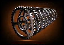 Серебряные cogwheels на желтом цвете Стоковые Изображения RF