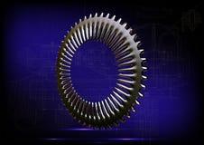 Серебряные cogwheels на сини Стоковое Фото