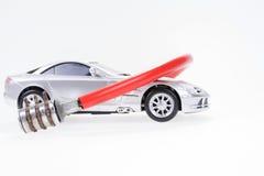Серебряный автомобиль спорт обеспеченный с замком Стоковое Изображение RF