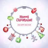 Серебряный браслет шарма с шариками и шкентелями Стоковые Фото