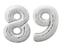 Серебряный 89 ввосемьдесят девять сделал из раздувного изолированного воздушного шара на белизне Стоковая Фотография RF