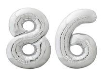 Серебряный 86 восемьдесят шесть сделал из раздувного изолированного воздушного шара на белизне Стоковые Фото