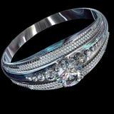 Серебряный диапазон захвата с самоцветом диаманта Стоковые Фото