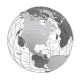 Серебряный изолированный глобус планеты 3D земли иллюстрация вектора