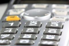 Серебряный крупный план кнопочной панели беспроводного телефона Стоковое Изображение