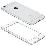 Серебряный модель-макет iPhone 6s Яблока лежит на поверхности Стоковое Фото