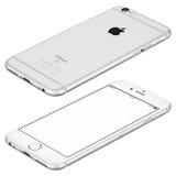 Серебряный модель-макет iPhone 6s Яблока лежит на по часовой стрелке вращанной поверхности Стоковое Фото