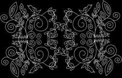 Серебряный орнамент на черной предпосылке иллюстрация вектора