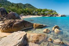 Серебряный пляж, кристаллический взгляд пляжа пляжа на острове Thail Samui Koh Стоковое Изображение RF