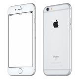 Серебряный по часовой стрелке вращанный модель-макет iPhone 6S Яблока немножко Стоковое Изображение RF