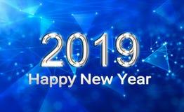 Серебряный счастливый Новый Год 2019 стоковые изображения rf