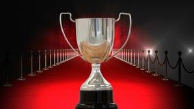 Серебряный трофей на видео красного ковра видеоматериал