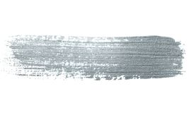 Серебряный ход кисти яркого блеска или абстрактный мазок лиманды с текстурой smudge на белой предпосылке Изолированное блестящее  Стоковая Фотография RF
