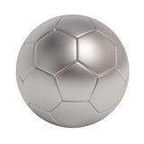 серебряный шарик футбола изолированный на белой предпосылке Стоковые Изображения