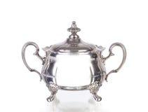 Серебряный шар сахара на белой предпосылке Стоковая Фотография RF