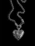Серебряный шкентель сердца на черноте стоковые изображения rf
