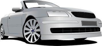Серебряный cabriolet на дороге иллюстрация вектора