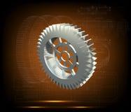 Серебряный cogwheel на желтом цвете Стоковые Фотографии RF