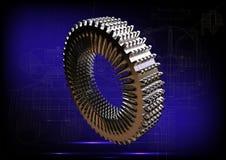 Серебряный cogwheel на сини Стоковые Фотографии RF