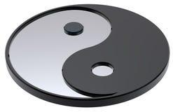 Серебряный Yin-Yang, символ сработанности Стоковые Изображения