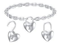 Серебряным ожерелье замка сердца изолированное шкентелем Стоковое Фото
