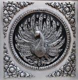 серебр выставки плиты павлина лака рамки гравировки Стоковые Фотографии RF