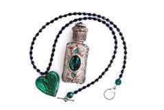 серебр дух ожерелья сердца бутылки кристаллический Стоковое фото RF