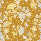 Серебр золота цветет безшовная предпосылка цветочного узора повторения вектора иллюстрация вектора