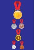Серебр золота и бронзовые медали, значок медали Стоковые Изображения RF