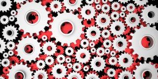Серебр и красное механически 3D производство, cogs cog шестерней металла на черной предпосылке Стоковая Фотография