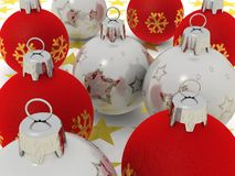 серебр красного цвета рождества шариков Стоковые Фото