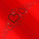 серебр красного цвета сердец предпосылки Стоковое фото RF