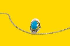 Серебр на желтом цвете Стоковое Фото