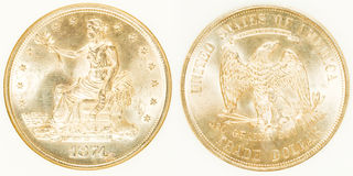 Серебр доллара фронта и задней части торговый Стоковые Фото