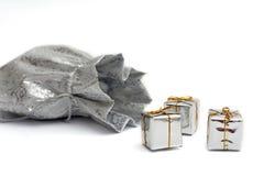 серебр подарков мешка Стоковая Фотография